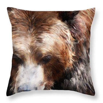 Bear // Gold Throw Pillow