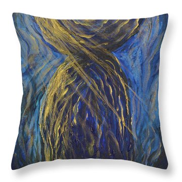 Gold And Blue Latte Stone Throw Pillow
