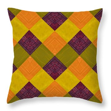 Gold And Green With Orange 2.0 Throw Pillow by Michelle Calkins