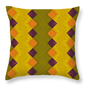 Throw Pillow featuring the painting Gold And Green With Orange  by Michelle Calkins