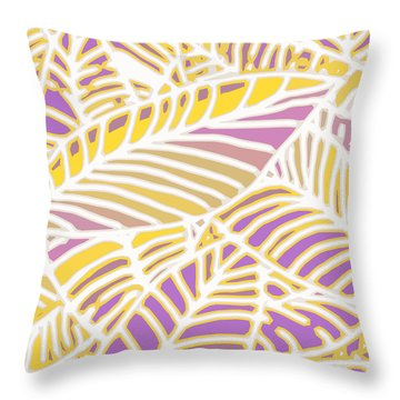 Gold And Orchid Leaves Cutout Throw Pillow