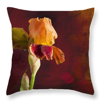 Gold And Red Iris Throw Pillow