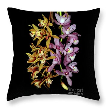 Throw Pillow featuring the photograph Gold And Red Orchid Display By Kaye Menner by Kaye Menner