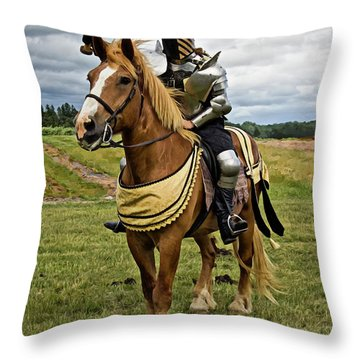 Gold And Silver Knight Throw Pillow