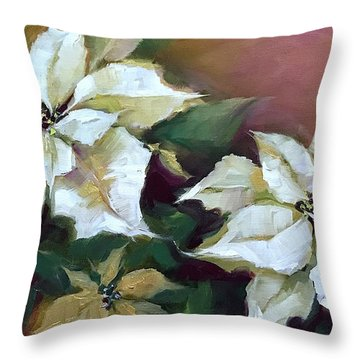 Gold And Silver Silent Night Poinsettias Throw Pillow