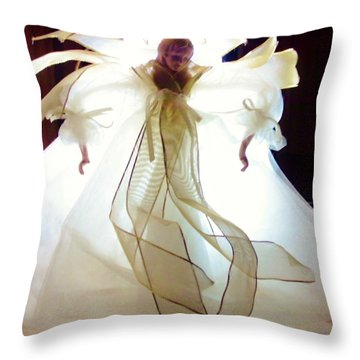 Gold And White Angel Throw Pillow