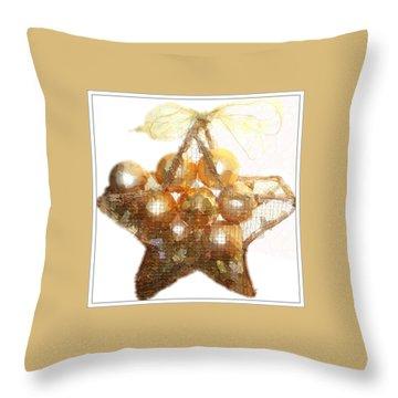 Throw Pillow featuring the photograph Gold Ball Star by Ellen O'Reilly