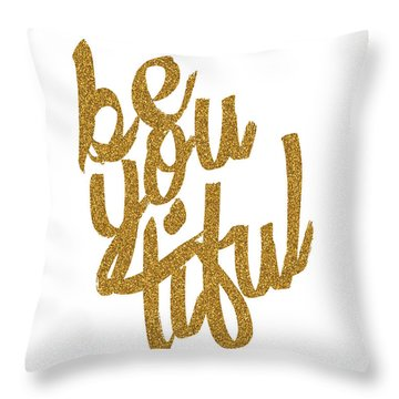 Gold 'beyoutiful' Typographic Poster Throw Pillow