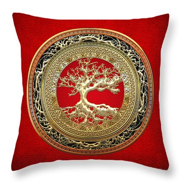 Gold Celtic Tree Of Life On Red Throw Pillow