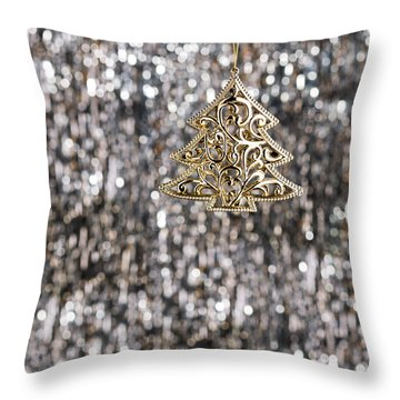 Throw Pillow featuring the photograph Gold Christmas Tree by Ulrich Schade