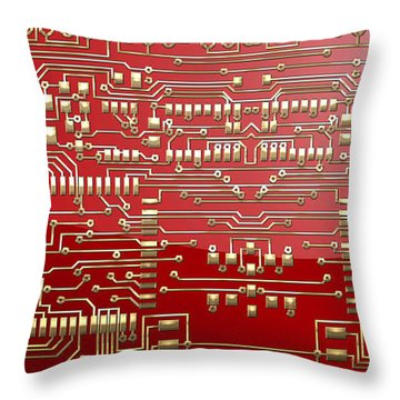 Gold Circuitry On Red Throw Pillow