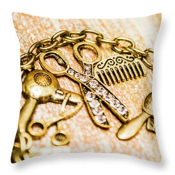 Gold Class Hair Styling Background Throw Pillow