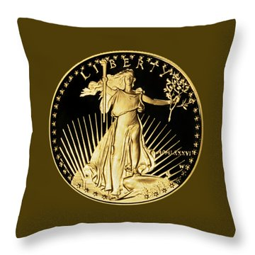 Gold Coin Front Throw Pillow by Phyllis Denton