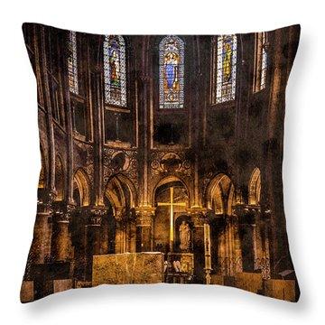 Paris, France - Gold Cross - St Germain Des Pres Throw Pillow