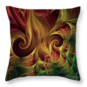 Throw Pillow featuring the digital art Gold Curl by Deborah Benoit
