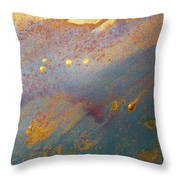 Gold Dust Abstract Painting Throw Pillow