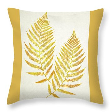 Throw Pillow featuring the mixed media Gold Fern Leaf Art by Christina Rollo