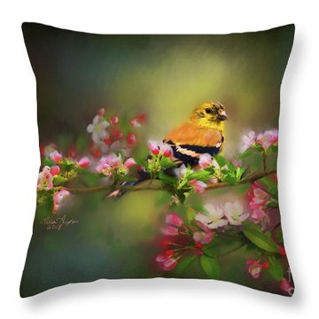 Gold Finch And Blossoms Throw Pillow