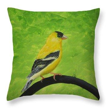 Gold Finch Throw Pillow by Rich Fotia