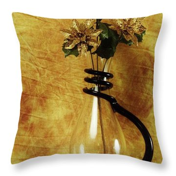 Gold Flowers In Vase Throw Pillow