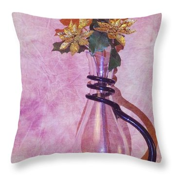 Gold Flowers Pink Background Throw Pillow