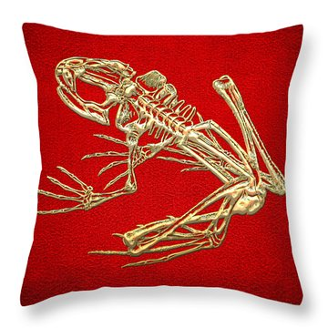 Gold Frog Skeleton On Red Leather Throw Pillow