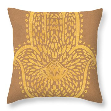 Gold Hamsa Hand On Brown Paper Throw Pillow