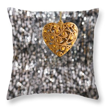 Throw Pillow featuring the photograph Gold Heart  by Ulrich Schade