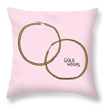 Gold Hoops Throw Pillow