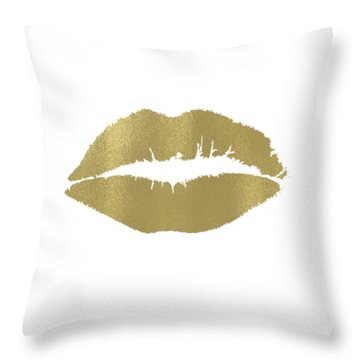 Gold Lips Kiss Throw Pillow