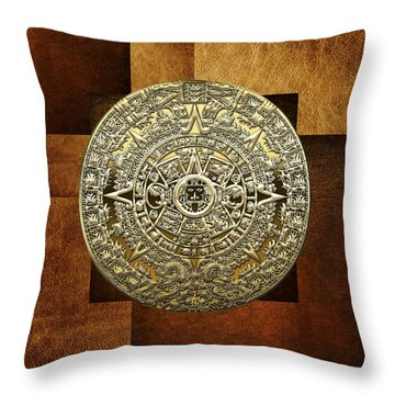 Gold Mayan-aztec Calendar On Brown Leather Throw Pillow