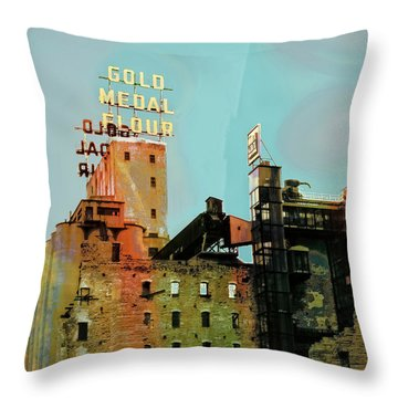Throw Pillow featuring the photograph Gold Medal Flour Pop Art by Susan Stone