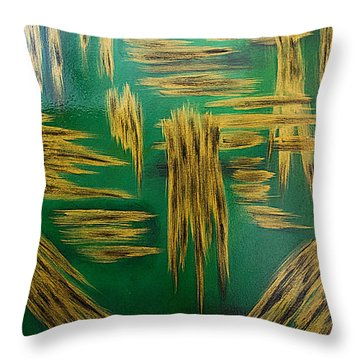 Throw Pillow featuring the painting Gold Metallic Abstract by Renee Anderson