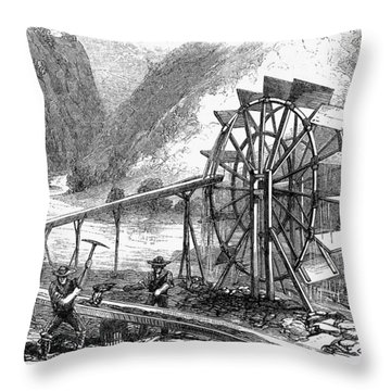 Gold Mining, 1860 Throw Pillow by Granger