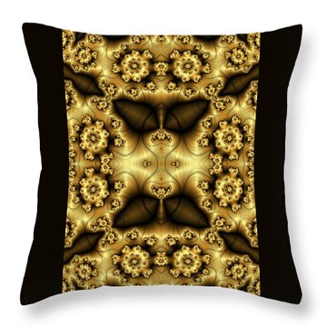 Gold N Brown Phone Case Throw Pillow by Lea Wiggins