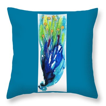 Throw Pillow featuring the painting Gold Nuggets And Blue by Joan Hartenstein