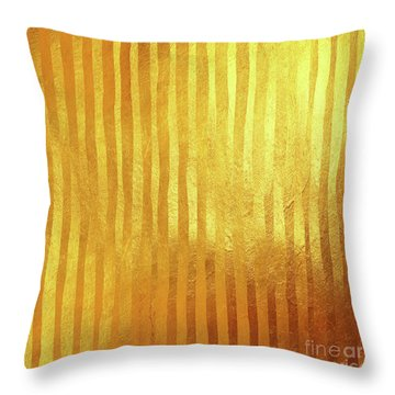 Gold On Gold Stripes Golden Foil Stripes Throw Pillow