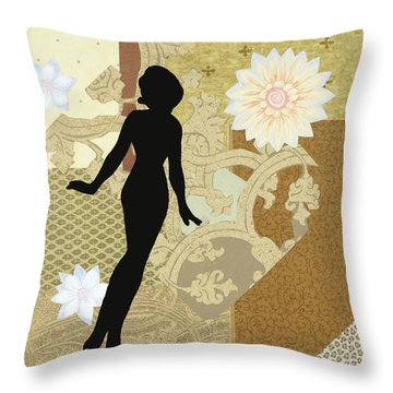 Gold Paper Doll Throw Pillow