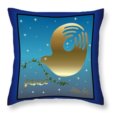 Gold Peace Dove Throw Pillow