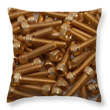 Throw Pillow featuring the photograph Gold Plated Screws by Gunter Nezhoda