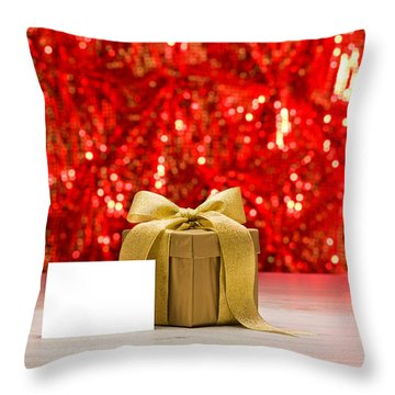 Throw Pillow featuring the photograph Gold Present With Place Card  by Ulrich Schade