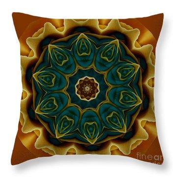 Gold Rose Mandala Throw Pillow