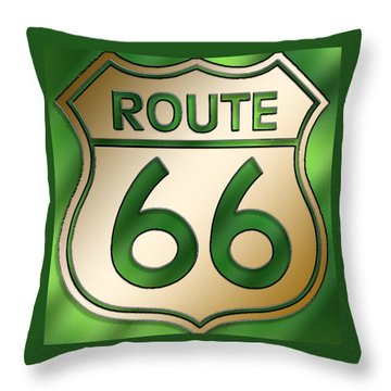 Throw Pillow featuring the digital art Gold Route 66 Sign by Chuck Staley