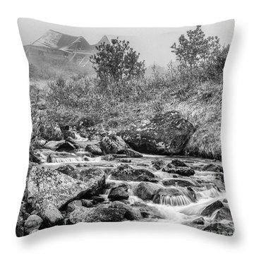 Gold Rush Mining Shack In The Alaskan Mountains Throw Pillow