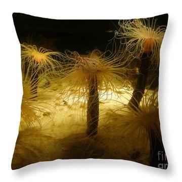 Gold Sea Anemones Throw Pillow