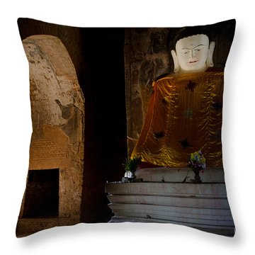 Gold Shrouded Buddha In Burma Basks In Natural Light By Temple Portal Throw Pillow