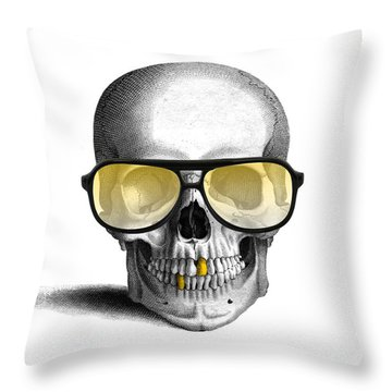 Skull With Gold Teeth And Sunglasses Throw Pillow