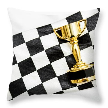 Gold Trophy On A Checked Sport Flag Throw Pillow