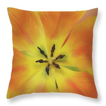 Gold Tulip Explosion Throw Pillow