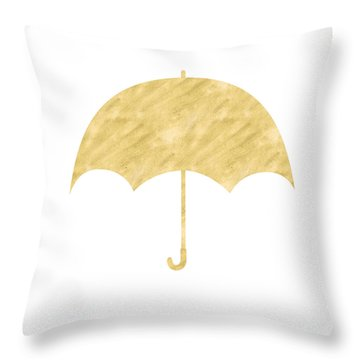 Gold Umbrella- Art By Linda Woods Throw Pillow by Linda Woods